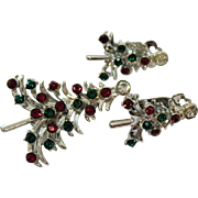 Sparkling Rhinestone Vintage Christmas Tree Brooch Clip Earrings Set