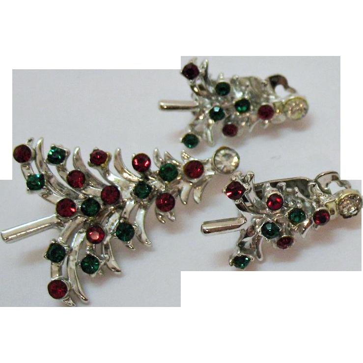 Sparkling Rhinestone Vintage Christmas Tree Brooch Clip Earrings Set