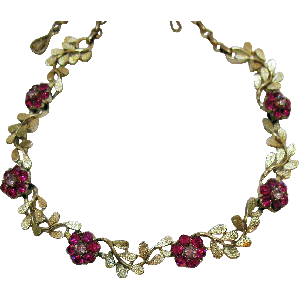 Signed Coro Vintage Lavender Hot Sapphire Pink Rhinestone Golden Flower Necklace