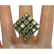Vintage Sterling Silver Emerald Cut Peridot Gemstone Modernistic Bold Ring