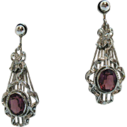 Gorgeous Vintage Silver Art Deco Influence Clip Earrings Amethyst Glass Stones