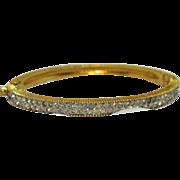 Signed Jomaz Joseph Mazor Vintage Pava Rhinestone Hinged Bangle Bracelet