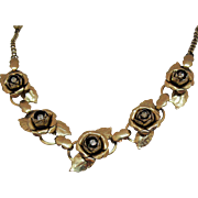 Early Unsigned Coro Vintage Cabbage Rose Rhinestone Golden Necklace