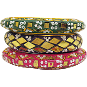 Vintage Signed India Bohemian Mosaic Bead Glass Bangle Bracelets Set of 3
