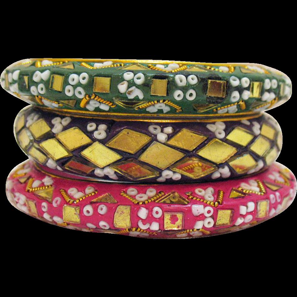 Vintage Signed India Bohemian Mosaic Bead Glass Bangle Bracelets Set of 3