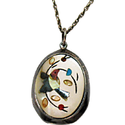 Early Native American Indian Vintage Inlay Hummingbird Sterling Silver Necklace