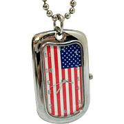 Unique Awesome Vintage American Flag Silver Pendant Watch Necklace