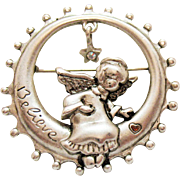 Unusual Signed Danecraft Vintage Angel Setting in Moon Star Charm Rhinestone Signed Believe Brooch