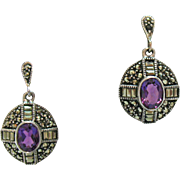 Gorgeous Vintage Sterling Silver 925 Genuine Amethyst Marcasite Pierced Earrings