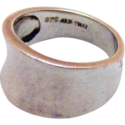 Vintage Signed ALX Thailand Sterling Silver Wide Saddle Ring Size 6 ½
