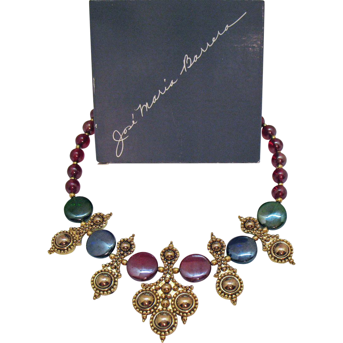 Signed Jose Marie Barrera for Avon Vintage Adriatic Necklace Original Box Unworn Book Piece