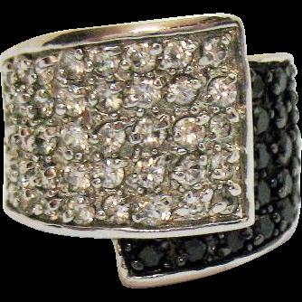 Glamorous Bold Black White CZ Faux Pave Diamond Vintage Rhodium Plated Band Ring