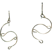 Sterling Silver Vintage 925 Abstract Wire Pierced Earrings