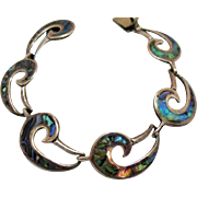 Stunning Taxco Mexico Artist Signed FS Abalone Inlay Vintage Sterling Silver Bracelet