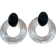 Fun Vintage Faceted Lucite Black Clear Hoop Pierced Earrings