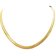 Stunning Heavy 14K Plated Gold Vintage Flat Link 19 Inch Necklace Chain