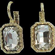 Large Vintage Emerald Cut Rhinestone Foil Backed Lever Clip Pierced Earrings