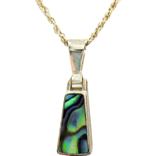 Beautiful Vintage Signed Italy SU 925 Sterling Silver Abalone Inlay Pendant Necklace