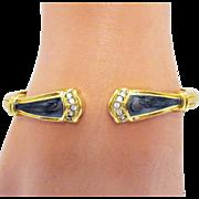 Signed KJL 1988 Duchess of Windsor Collection for Avon Panther Bracelet Vintage Enameled Cuff