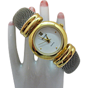 Signed Gruen Vintage Wrist Watch Two Tone Mesh Cuff Bracelet