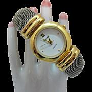 Signed Gruen Vintage Wrist Watch Two Tone Mesh Cuff Bracelet