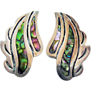 Gorgeous Signed IV Taxco Sterling Silver Vintage Pre Eagle Abalone Inlay Screw Back Earrings