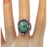 Outstanding Signed Sterling Silver 925 Peacock Abalone Inlay Ring Vintage Native American Indian