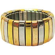 Signed Milor Italy Stainless Steel Vintage Tri-Colored Expansion Band Ring