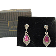 Signed Avon Vintage Romantic Splendor Original Box Clip Purple Rhinestone Silver Clip Earrings