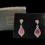 Signed Avon Vintage Romantic Splendor Original Box Clip Purple Rhinestone Silver Clip Earrings