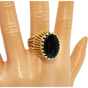 High End Fashion Ring 18K GE Signed A Yellow Gold Black Glass Large Vintage Ring Unworn