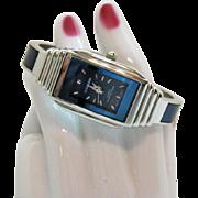 Signed Ultramarine Vintage Water Resistant Woman's Tank Wrist Watch Cuff Bracelet Unworn