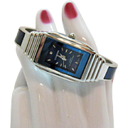 Signed Ultramarine Vintage Water Resistance Woman's Tank Wrist Watch Cuff Bracelet Unworn