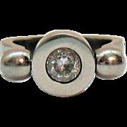 Rare Signed Speidel Vintage Flip Ring Cubic Zirconia Signet Stainless Steel