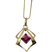 Vintage Signed Synthetic Ruby Emerald Cut 10K Gold Pendant with 14K Gold Chain