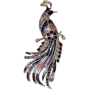 Bird of Paradise Enameled Rhinestone Vintage Brooch