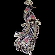 Bird of Paradise Enameled Rhinestone Vintage Brooch