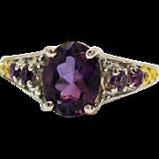 Signed Vintage 925 Amethyst Gemstone Heart Filigree Ring Sterling Silver