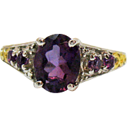 Signed Vintage 925 Amethyst Gemstone Heart Filigree Ring Sterling Silver