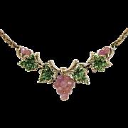 Vintage Luminous Pink Glass Moonstone Grape Cluster Necklace Green Enameled Leaves