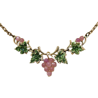 Vintage Luminous Pink Glass Moonstone Grape Cluster Necklace Green Enameled Leaves