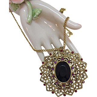 Magnificent Bold Vintage Amethyst Glass Stone Rhinestone Medallion Necklace Silver Foiled