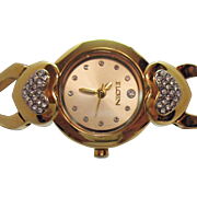 Signed Elgin Vintage Heart Pava CZ Golden Woman's Wrist Watch Unworn