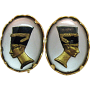 Signed EMJ Emmons Reverse Painted Egyptian Revival vintage Clip Earrings Queen Nefertiti