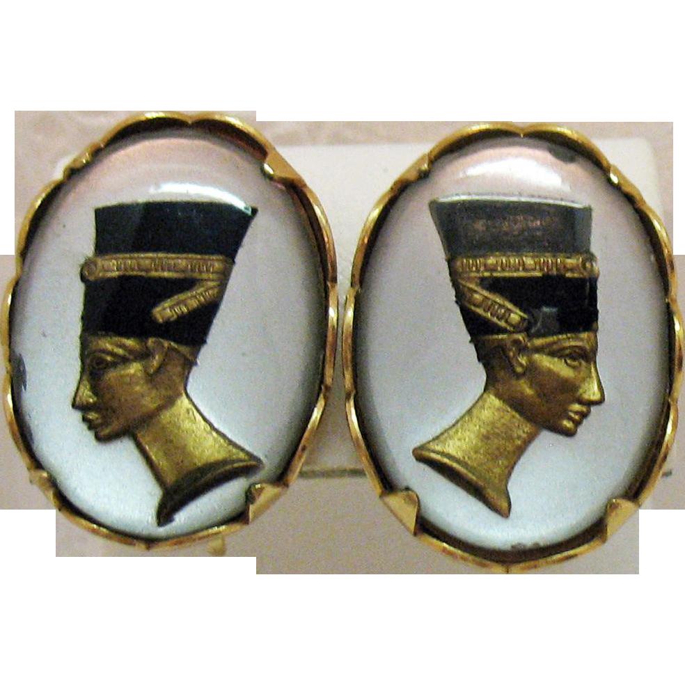 Signed EMJ Emmons Reverse Painted Egyptian Revival vintage Clip Earrings Queen Nefertiti