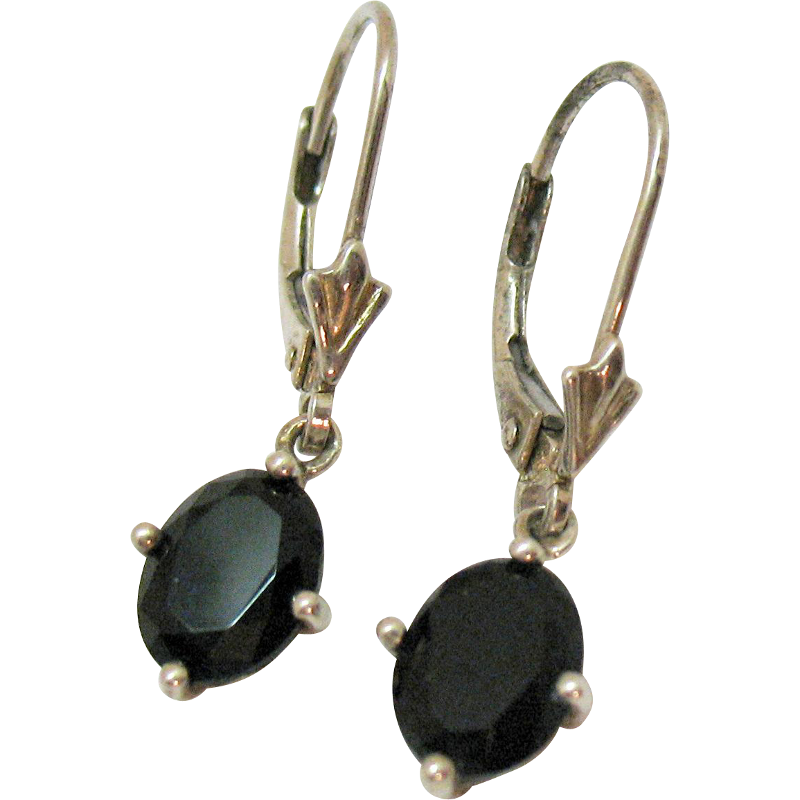 Vintage Sterling Silver 925 Faceted Black Glass Pierced Earrings Signed Hong Kong