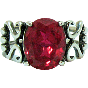 Vintage Signed Avon Sterling Silver 925 Synthetic Ruby Ring 1997 Unworn Original Box