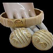 Bold Vintage Enameled Golden Large Bangle Bracelet Pierced Earrings Set