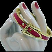 Vintage Fuchsia Pink Enameled Golden Belt Buckle Bracelet