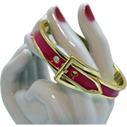 Vintage Fuchsia Pink Enameled Golden Belt Buckle Bracelet